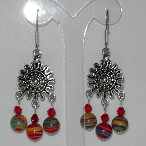 Multi color faux turquoise earrings (#365)
